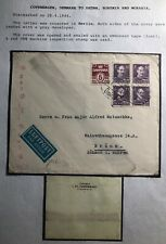 1944 Copenhagen Denmark Censored Airmail Cover To Brunn Bohemia Germany