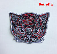Cute Animal Cat face Art Badge Iron or sew on Embroidered Patch Set of 2