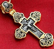 Russian Greek Orthodox Cross Silver 925+999 Gold. Guardian Angel Image.New !