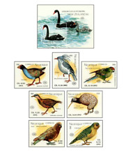 NIC9002 Birds of New Zealand, kiwi, cocoa and other, 7+ block MNH NICARAGUA