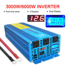 3000w 6000w pure sine wave power inverter DC 12v to AC 240v car converter LCD