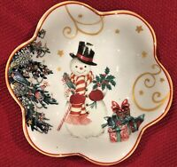Williams Sonoma CHRISTMAS Nut Candy Dish Bowl TWAS THE NIGHT SNOWMAN Brand New