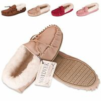 Nordvek Ladies Genuine Suede Moccasin Slippers Sheepskin Wool Hard Sole Womens