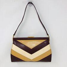 OROTON Australia Vintage chevron print beige burgandy frame leather shoulderbag