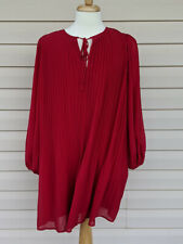 A New Day Womens Bishop Lg Sleeve Crewneck Pleated Shift Dress Red Sz L See Desc