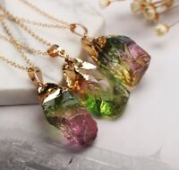 Gemstone Pendant Necklace Natural Quartz Crystal Point Chakra Healing Stone Hot