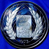 1973 REPUBLIC OF INDIA 20 RUPEES SILVER PROOF  A22-861