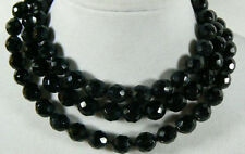 Natural 10mm faceted black onyx gemstone necklace 36 Inch