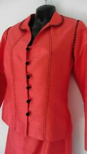 HAND MADE STUNNING SILK BLEND DEEP CORAL SKIRT & MATCHING JACKET UK 8 IMMACULATE
