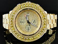 Custom Iced 38 Ct Mens New Breitling Super Avenger Canary Diamond Watch