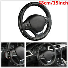 38cm Car Styling Steering Wheel Cover Anti-slip PU Leather W/ Crystal Rhinestone