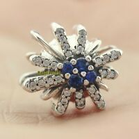 925 Sterling Silver Dazzling Fireworks Charm Clear CZ Blue Crystal Christmas