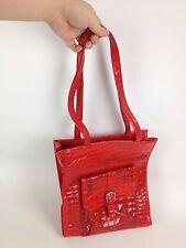 "VTG 60s Faux Crocodile Cherry Red Vinyl Purse Retro Pinup Girl 12"" Tote Handbag"