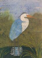 Original Blue Heron Landscape Watercolor Batik on Japanese Rice Paper 17x24 in.