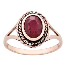 10k Rose Gold Vintage Style Genuine Oval Ruby Split-Shank Ring