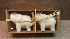 BIA CORDON BLEU WHITE CERAMIC ELEPHANT SALT AND PEPPER SHAKERS NEW NIB