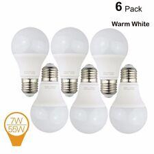 6 Pack 7W LED Light Bulbs Equivalent to 55W A19 Bulbs Warm White 3000 Kelvin