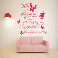With a Butterfly Kiss Quote Wall Decals Art Vinyl Sticker kid Nursery Decor DIY