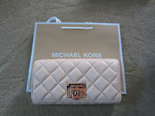 MICHAEL KORS Astrid Quilted Carry All Lamb Leather Soft Wallet Nude NWT $198