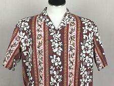 Royal Creations XL Red and White Hawaiian Aloha Shirt Hibiscus Hieroglyphs