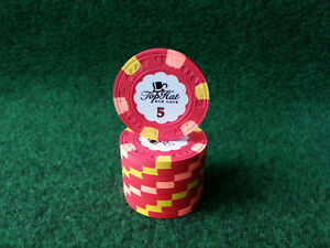 10x Paulson WTHC Top Hat and Cane Poker Chip - Wert 5