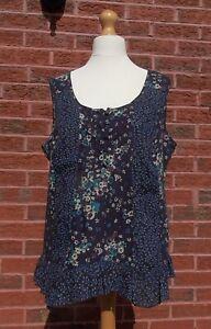 Ladies Blue Floral Cotton Top, M&S Per Una, Size 18