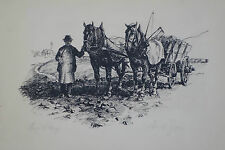 Lithografie,Eric Jeger,Original lithography, paesant a. cart in the countryside