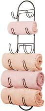 MDesign Wall Mount Metal Wire Towel Storage Shelf Organizer Rack Holder With 6