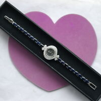 ALLURING GENUINE AAA BLUE SAPPHIRE OVAL & WHITE CZ STERLING 925 SILVER WATCH 7.5