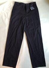 LANDS END Navy School Uniform Plain Front Chino Pants Adjustable Waist Boys 16