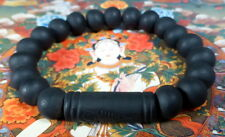 Buddha MALA BEADS Blessed ALL BLACK BRACELET REAL LEK NAM PEE THAI MAGIC STEEL