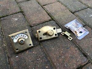 VINTAGE BRASS VACANT ENGAGED TOILET BATHROOM LOCK BOLT INDICATOR DOOR(C)