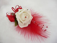 Artificial Ivory Rose & Red Wedding flower buttonhole corsage  - PIN ON