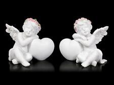 Engel Fantasy Figuren - Putten mit Herz - 2er Set | Fee Fairy Elfe H 7 + 7,5 cm