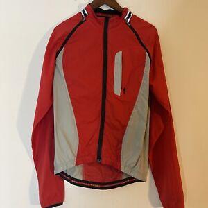 Specialized cycling rain Jacket Windbreaker reflective red mesh liner Hood