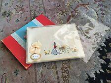 Antique Edwardian Hand Embroidered Cotton Napkin In Original Box