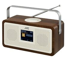 "JVC RA-DS77 PORTABLE DAB+ FM CLOCK RADIO WOOD & CREAM FINISH 3.2"" LCD DISPLAY"