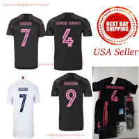 Hazard Ramos Benzema 2020 21 Real Madrid Kids Jersey Kit Age 3 - 13 Yrs Old