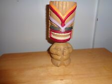 RARE VINTAGE HAWAIIAN LUAU NATIVE TIKI WARRIOR CARVING BOBBLE HEAD NODDER STATUE