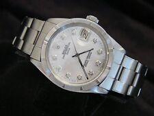 Mens Rolex Date Steel Watch Oyster Rivet Bracelet White MOP Diamond Dial 1501