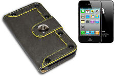 HOUSSE COUVERTURE FLIP PORTE MONNAIE COMPATIBLE APPLE IPHONE 4 GOUJONS GRIS