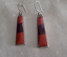STERLING EARRINGS RED CORAL PURPLE TURQUOISE BY RB