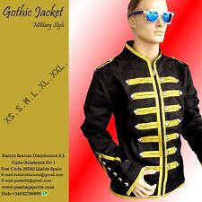 Men's Handmade Black & Golden Parade Military Marching Band Drummer Jacket