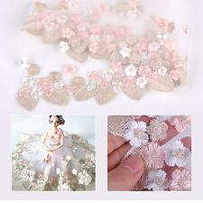 1 Yard Embroidered Leaf Flower Tulle Lace Edge Trim Sew Wedding Bridal Dress DIY