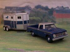 1966 Dodge D Pickup + Tandem Horse Trailer Farm Collectible 1/64 Diorama Models