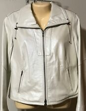 Chico's White Leather Jacket Size 1 (S 8-10) VGC Zip Front 2 Front Pockets Lined
