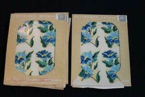 "VINTAGE 4 PIECE SET OF MEYERCORD BLUE FLORAL 1940'S DECALS 6 3/4"" X 8 1/4"""
