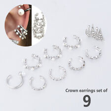 9PCS/Set Punk Pearl Crystal Ear Clip Boho Ear Cuff Stud Ear Earrings Jewelry Hot