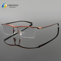 Men's Titanium Half Rimless TR90 Myopia Eyeglasses Frames Optical Eyewear RX
