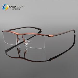 Men's Titanium Alloy Half Rimless Eyeglasses Frames Optical Eyewear Frame